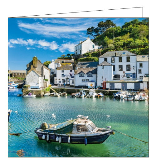 Abacus BBC Countryfile harbour polperro cornwall blank card