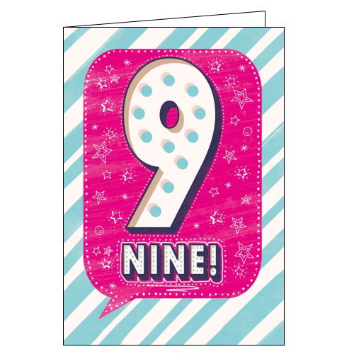 Abacus pink nine today happy 9th birthday card Nickery Nook