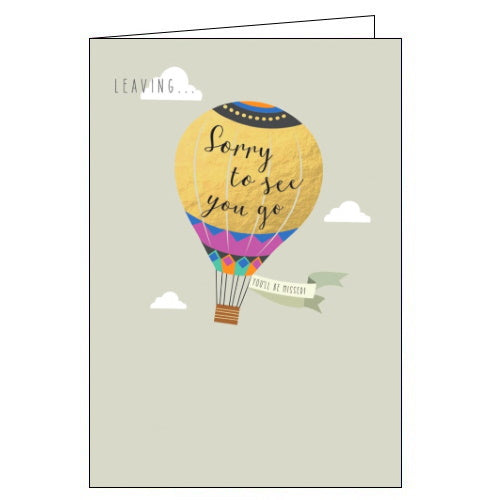 Abacus hotair balloon sorry you're leaving card