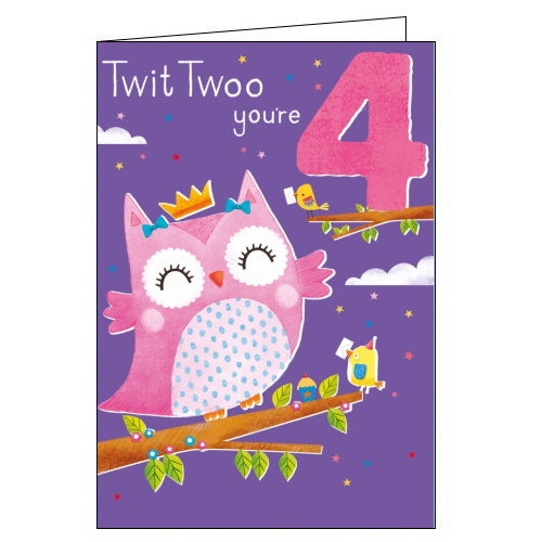 Abacus owl 4th birthday card