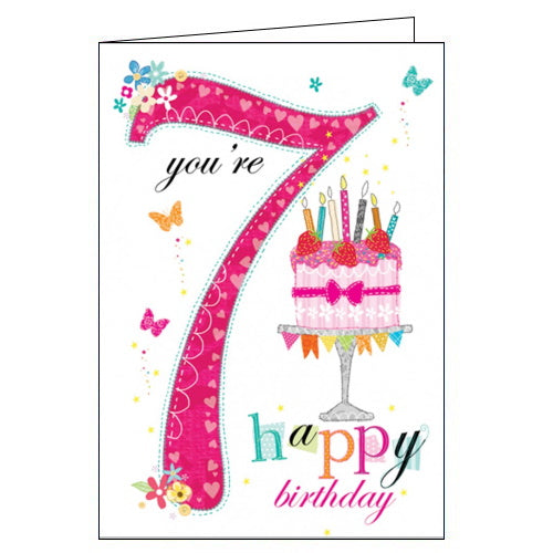 Abacus pink 7th birthday card