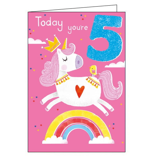 Abacus unicorn 5th birthday card