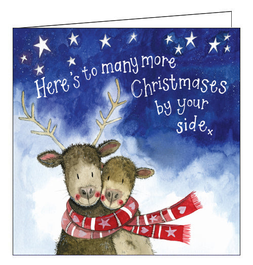 Alex Clark Christmas card showing two reindeer wearing the same scarf. The text on the card reads