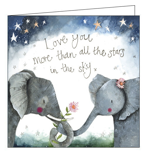 Perfect for Valentine's Day, or just to say 'I love you', this Alex Clark card features two elephant's holding trunks under starlight. Text on the front of the card reads