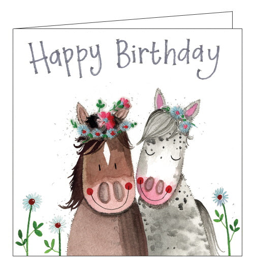 Alex Clark birthday card horses in flower crowns