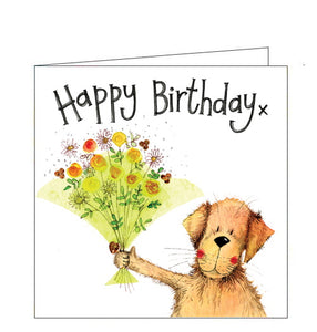 "Part of Alex Clark's ""Little Sparkle"" Collection, of smaller sized Birthday cards. Each card is finished with a dusting of glitter. This card features a yellow dog holding out a green bouquet of flowers. The text on the front of the card reads ""Happy Birthday x"""