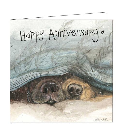 From an original watercolour by Alex Clark, this anniversary card shows two dogs - or their noses at least - peeking out from under a duvet. Text on the front of this card reads