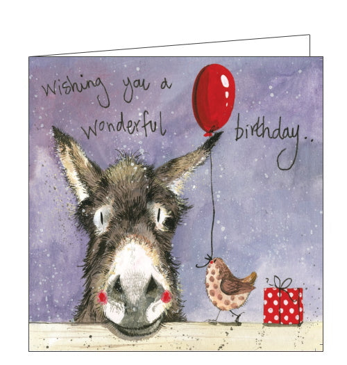 This birthday card features artwork by Alex Clark of a donkey resting its head on a fence. A bird walks along the fence to the donkey, carrying a balloon in its beak. Text on the front of this birthday card reads