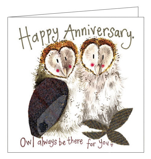 Alex Clark owl on our anniversary card