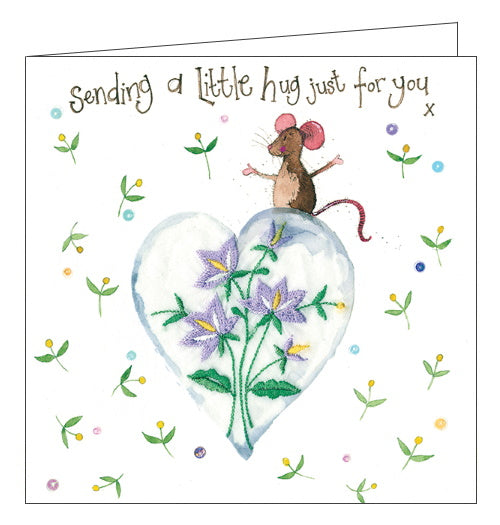 Alex Clark sending a little hug mouse greetings card