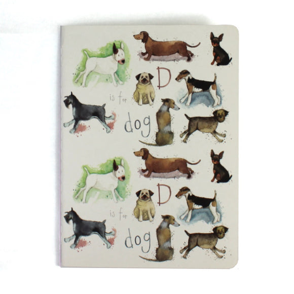 Alex Clark soft backed notebook d is for dogs