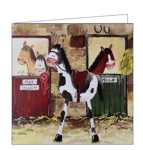 Alex Clark Alice's stable horses ponies countryside farming blank card