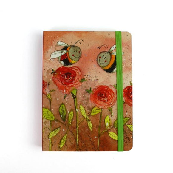Alex Clark a6 little chunky notebook bees and roses 2