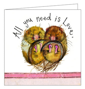 Alex Clark all you need is love cute dormouse snuggle cosy blank card Nickery Nook new