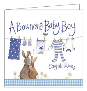 Alex Clark congratulations on your new baby boy son bouncing baby boy card Nickery Nook