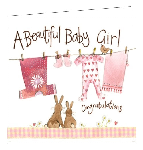 Alex Clark congratulations on your new baby girl daughter beautiful baby girl card Nickery Nook
