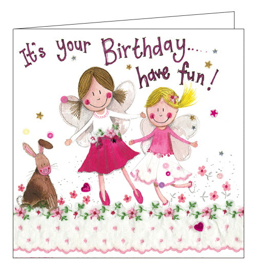 Alex Clark fairies have fun Birthday card Nickery Nook