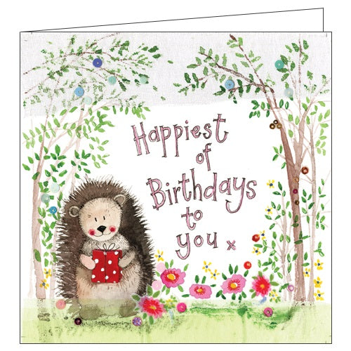 Alex Clark for her Happiest of Birthdays hedgehog flowers Happy Birthday card Nickery Nook