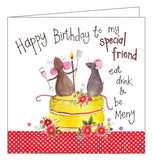 Alex Clark for her Happy Birthday cute mice special friend sweet treats cake eat drink and be merry Birthday card Nickery Nook