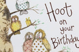 Alex Clark for her Have a Hoot on Your Birthday owls birds Happy Birthday card Nickery Nook close up
