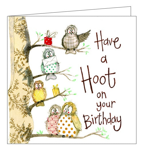 Alex Clark for her Have a Hoot on Your Birthday owls birds Happy Birthday card Nickery Nook