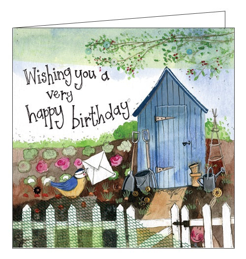 Alex Clark for her for him Happy Birthday allotment gardening garden hut garden shed Happy Birthday card Nickery Nook