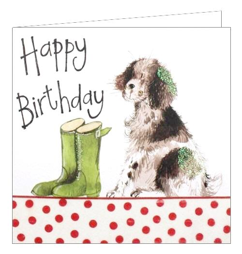 Alex Clark for her for him Happy Birthday dog springer springer spaniel wellies walkies Birthday card Nickery Nook