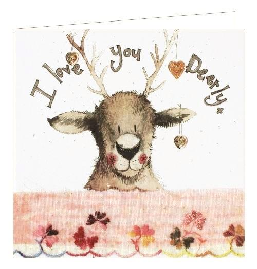 Alex Clark for her love I love you deerly blank card Nickery Nook