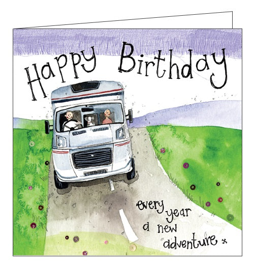Alex Clark for him RV caravan adventure Happy Birthday card Nickery Nook