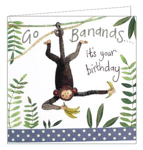 Alex Clark for him for kids Go Bananas it's your Birthday monkey jungle Happy Birthday card Nickery Nook