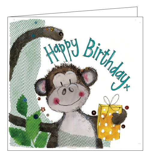 Alex Clark for kids Happy Birthday monkey and gift birthday card for kids Nickery Nook