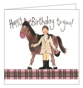 Alex Clark girl and pony horse Birthday card Nickery Nook