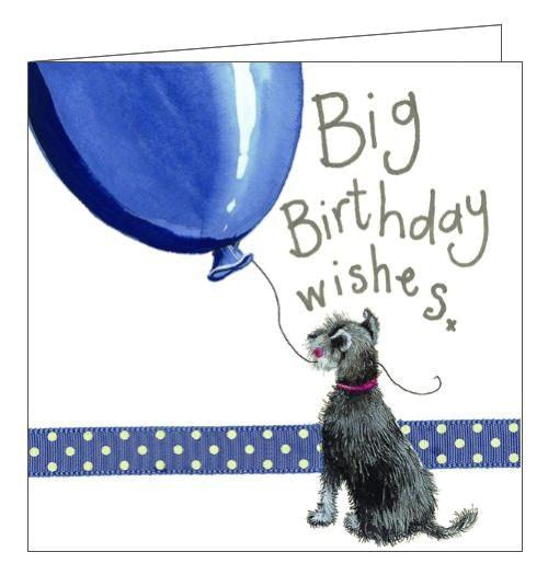 Alex Clark happy birthday dogs blue balloon schnauzer birthday card Nickery Nook