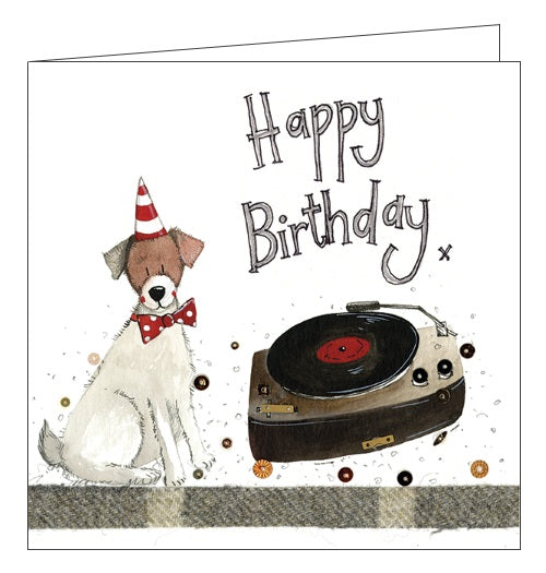 Alex Clark happy birthday dogs record player cute jack russell terrier birthday card Nickery Nook
