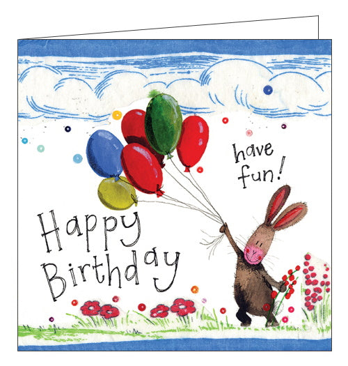 Alex Clark have fun rabbit and balloons Birthday card Nickery Nook