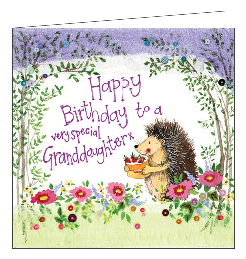 Alex Clark hedgehog granddaughter Happy Birthday card Nickery Nook new