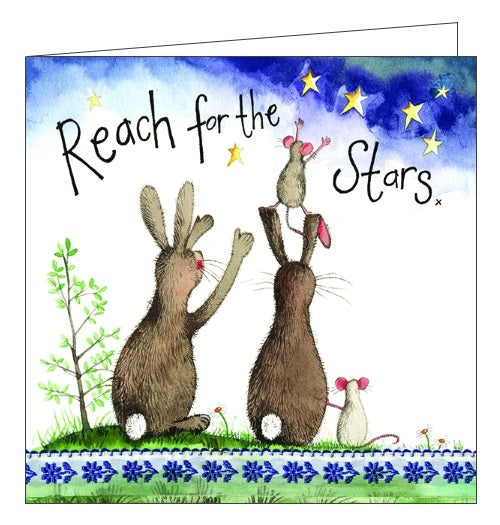 Alex Clark love blank card reach for the stars bunnies rabbits love family card Nickery Nook
