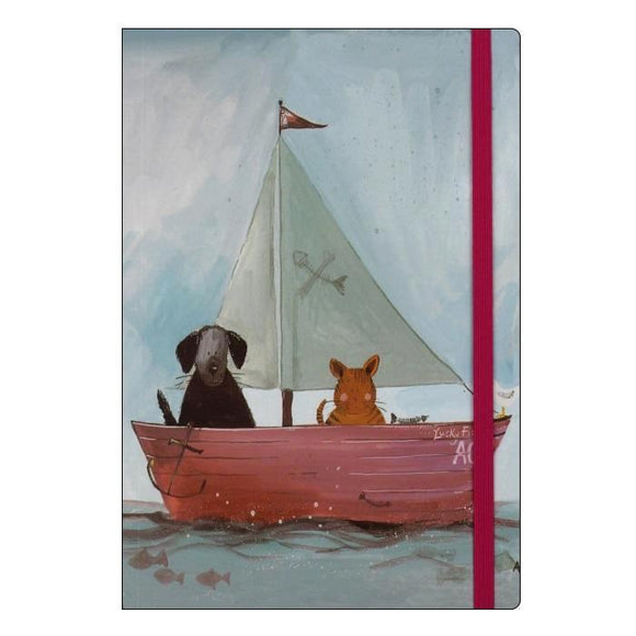 Alex Clark still waters cat and dog boat sea sailing lined notebook Nickery Nook