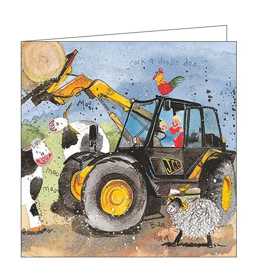 This blank card features artwork by Alex Clark the lively chaos of farming life! Two charactewrs try to drive a JCB tractor with a hale bale, but have to navigate around friendly cows, skeep and cockerals!