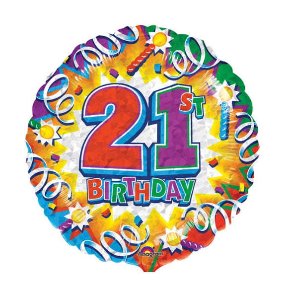 21st Birthday Helium Balloons - Various Designs
