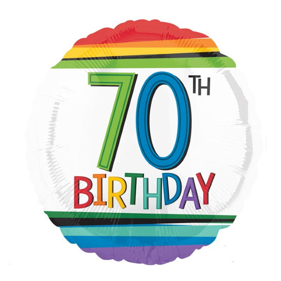 70th Birthday Helium Balloons - Various Designs