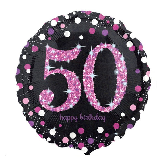 50th Birthday Helium Balloons - Various Designs