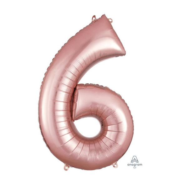 Anagram large rose gold 6 helium balloon