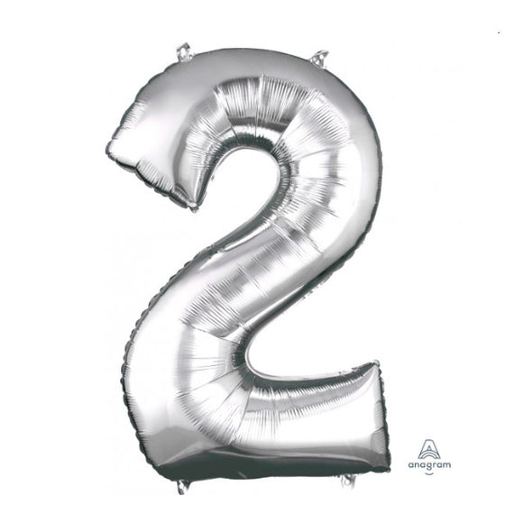 Anagram large silver 2 helium balloon