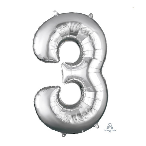 Anagram large silver 3 helium balloon