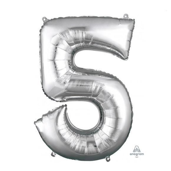 Anagram large silver 5 helium balloon