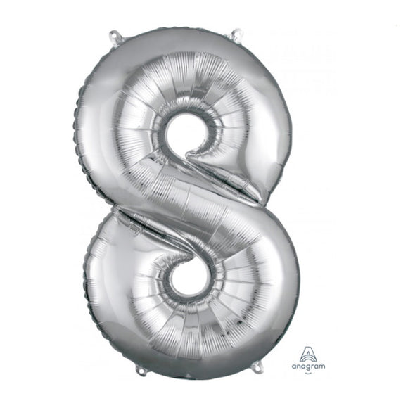 Anagram large silver 8 helium balloon