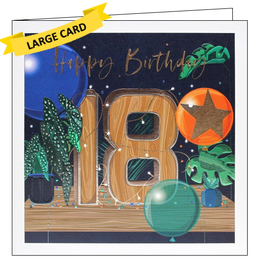 Bellybutton's exquisite range of greetings cards are perfect to commemorate milestone birthdays. With intricate designs and metallic detailing these cards are really something special. On this 18th Birthday card a huge wooden
