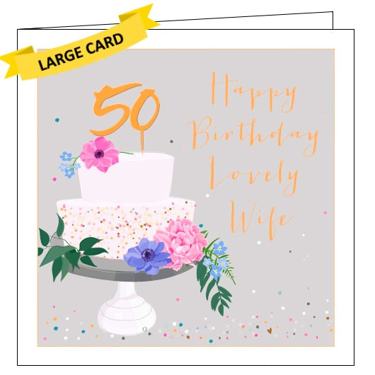 Belly Button luxe 50 today wife 50th birthday card Nickery Nook