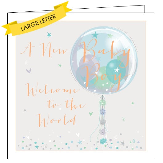 Belly Button luxe new baby boy congratulations baby boy welcome to the world card Nickery Nook